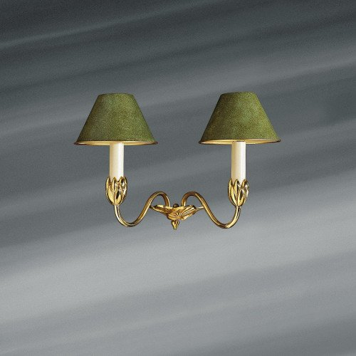 Lucien Gau NYMPHEA two-light gold sconce with lampshade 31352 Nymphéa Classique