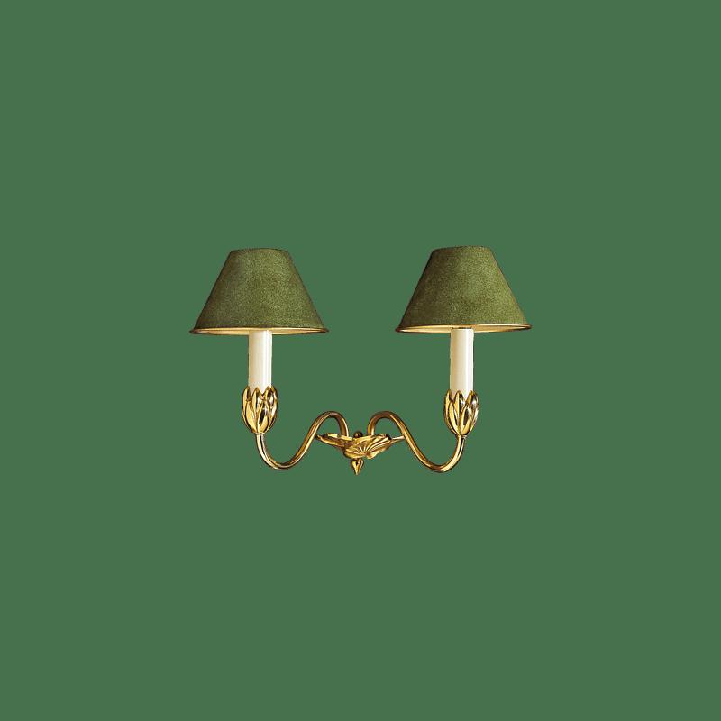 Lucien Gau NYMPHEA Zwei-Licht-Goldleuchte mit Lampenschirm 31352 Nymphéa Classique