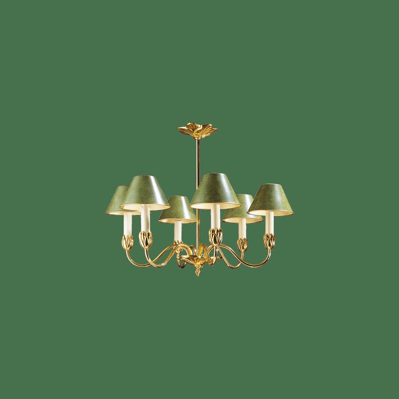 Lucien Gau Sechs-Licht-Kronleuchter mit Lampenschirm 31366 Nymphéa Classique