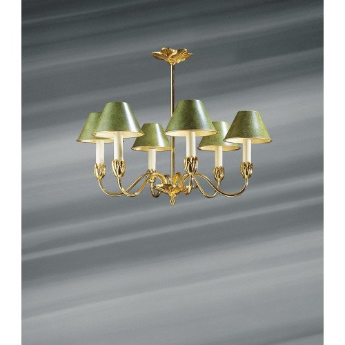 Lucien Gau six-light chandelier with lampshade 31366 Nymphéa Classique