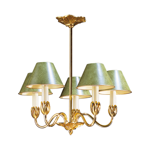 Lucien Gau five-light chandelier with lampshade 31355 Nymphéa Classique