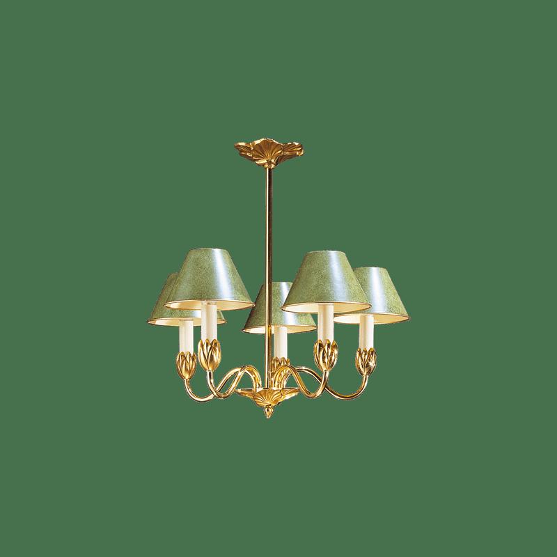 Lucien Gau Fünf-Licht-Kronleuchter mit Lampenschirm 31355 Nymphéa Classique
