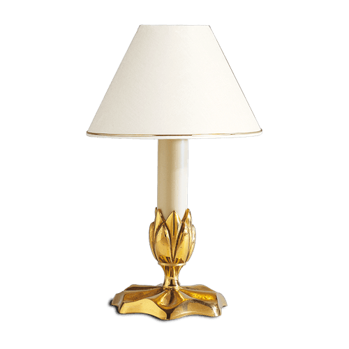 Lucien Gau Single-light candlestick lamp with lampshade 31361 Nymphéa Classique