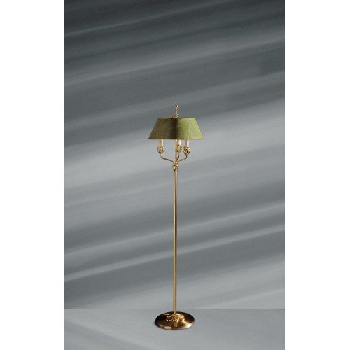 Lucien Gau Golden floor lamp with three lights and lampshade 31333 Nymphéa Classique