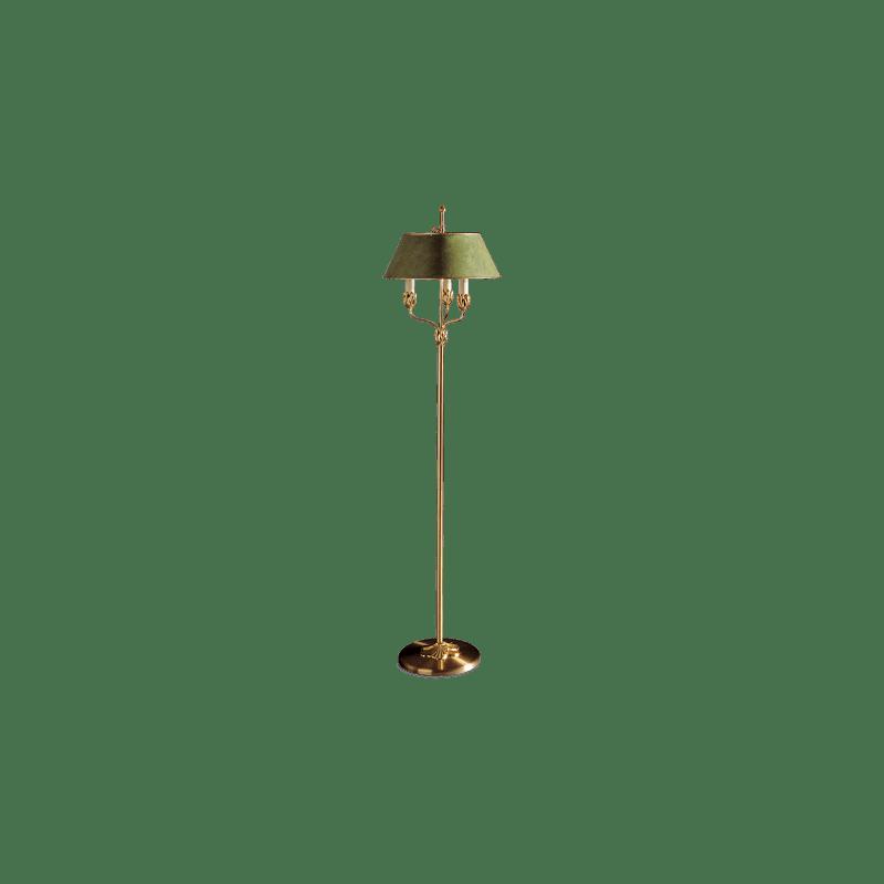 Lucien Gau Goldene Stehlampe mit drei Lichtern und Lampenschirm 31333 Nymphéa Classique