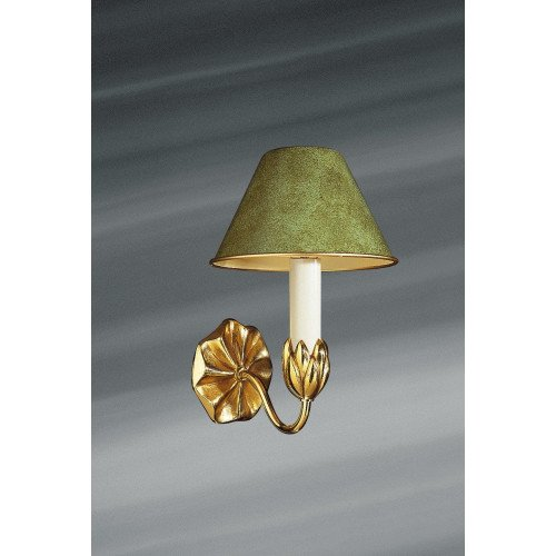 Lucien Gau Single-light gold wall lamp with lampshade 31351 Nymphéa Classique