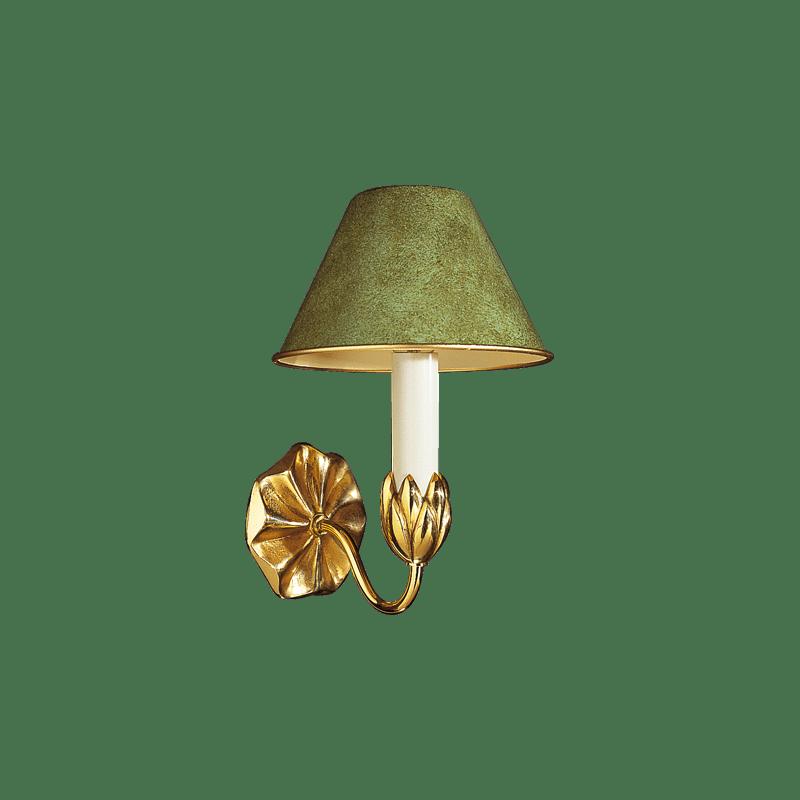 Lucien Gau Einleuchtende goldene Wandleuchte mit Lampenschirm 31351 Nymphéa Classique