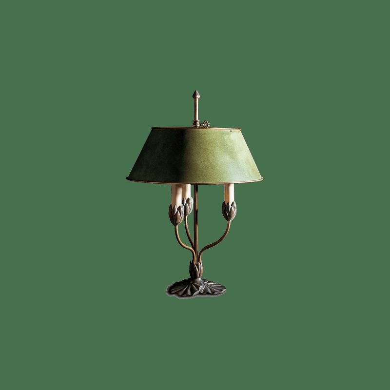 Lucien Gau Dreilichtige polychrome Lampe mit Lampenschirm 31313 Nymphéa Classique