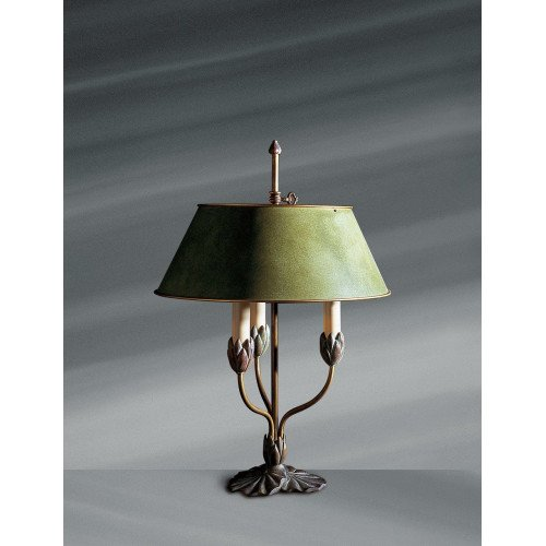 Lucien Gau Three-light polychrome lamp with lampshade 31313 Nymphéa Classique