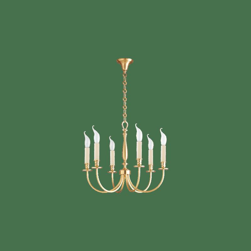 Lucien Gau Lustre classique or mat brillant six lumières 17706 arcade
