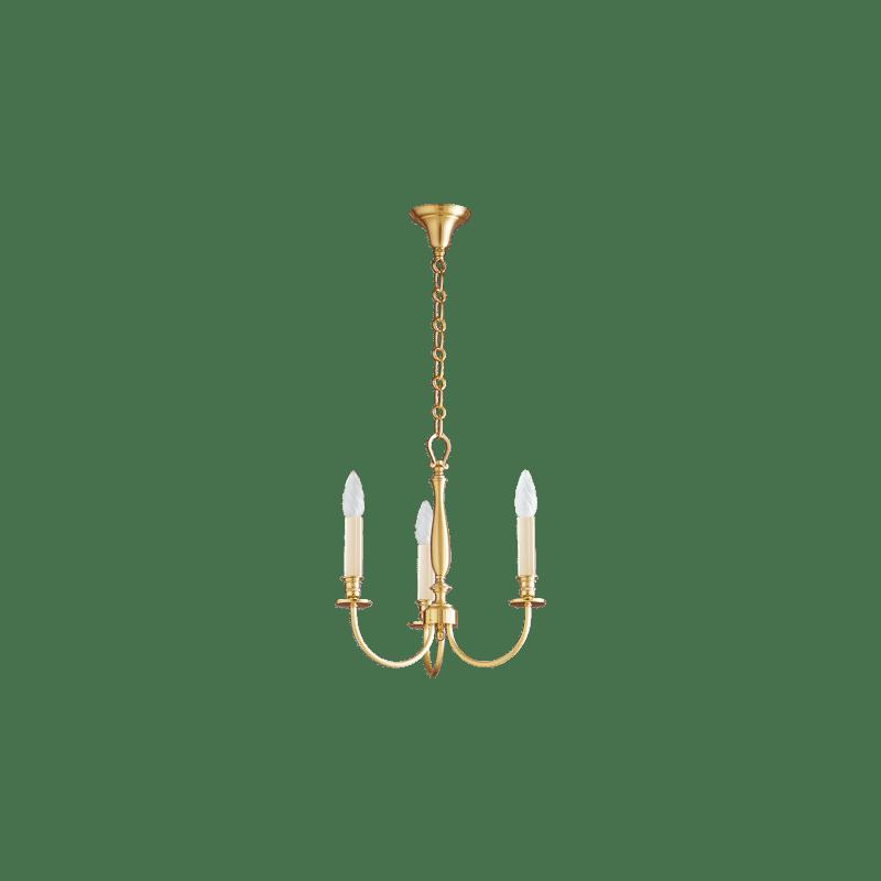 Lucien Gau Lustre classique or mat trois lumières 17703 arcade