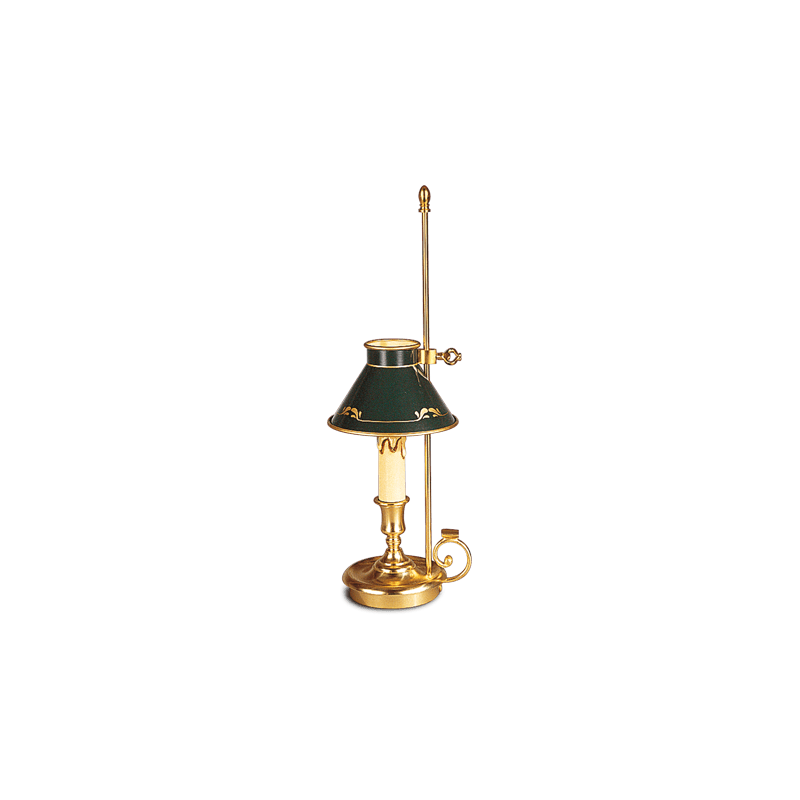 Lucien Gau Empire style candlestick table lamp with lampshade 15081