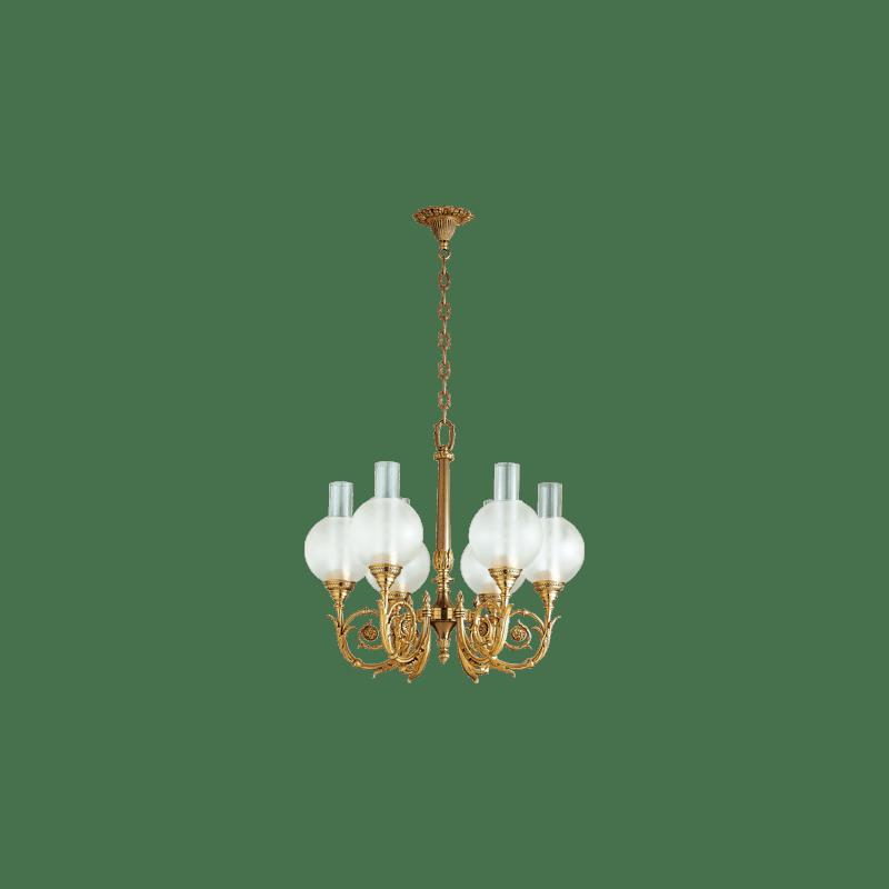 Lucien Gau Sechs-Licht-Restauration leuchter mit Glaswaren 18606