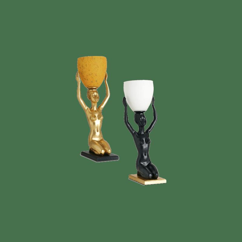 Lucien Gau Klassische Tischlampe mit Glaswaren 37051 Ethnie Classique