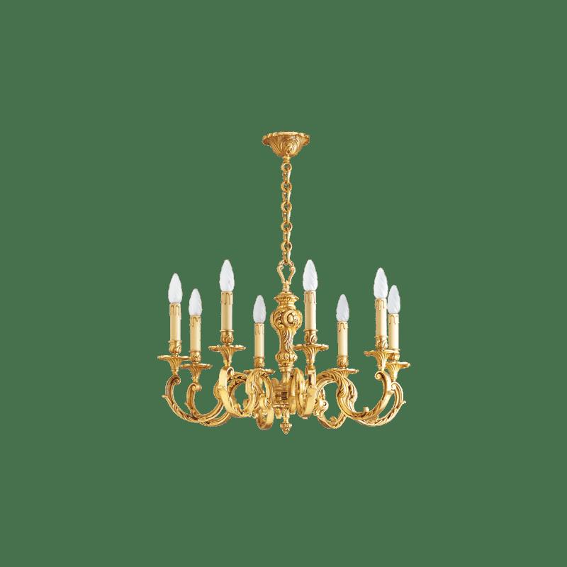 Lucien Gau Louis XV Kronleuchter aus massiver Bronze mit acht Leuchten 15588