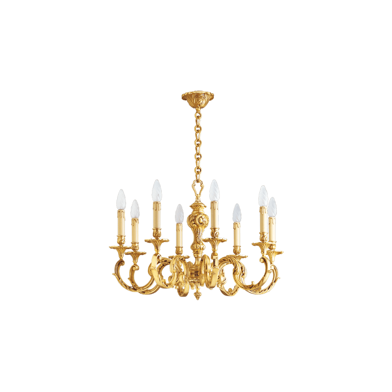 Lucien Gau Louis XV solid bronze chandelier with eight lights 15588