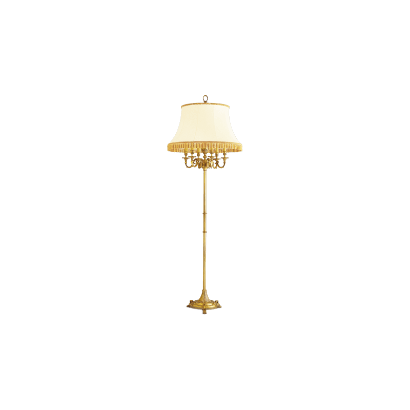 Lucien Gau Bronze floor lamp with lamp shade with six lights 16136 Louis XVI