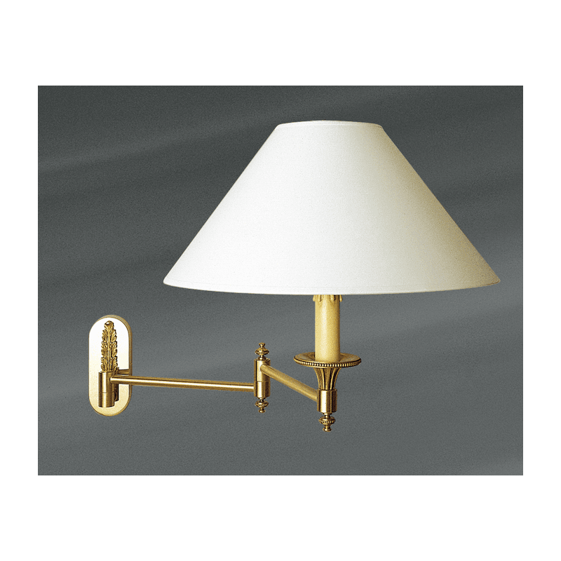 Lucien Gau Articulated Louis XVI style wall lamp with white shade 16211